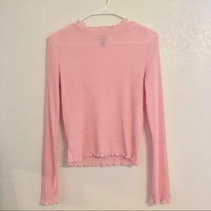 Pink lettuce-hem sweater